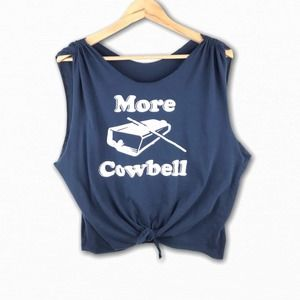 More Cowbell Graphic Tie Front Sleeveless Shirt